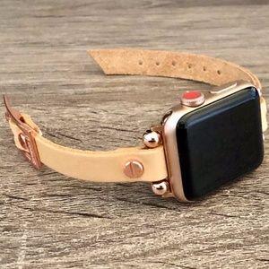 Tan Leather Strap Rose Gold Apple Watch Bracelet